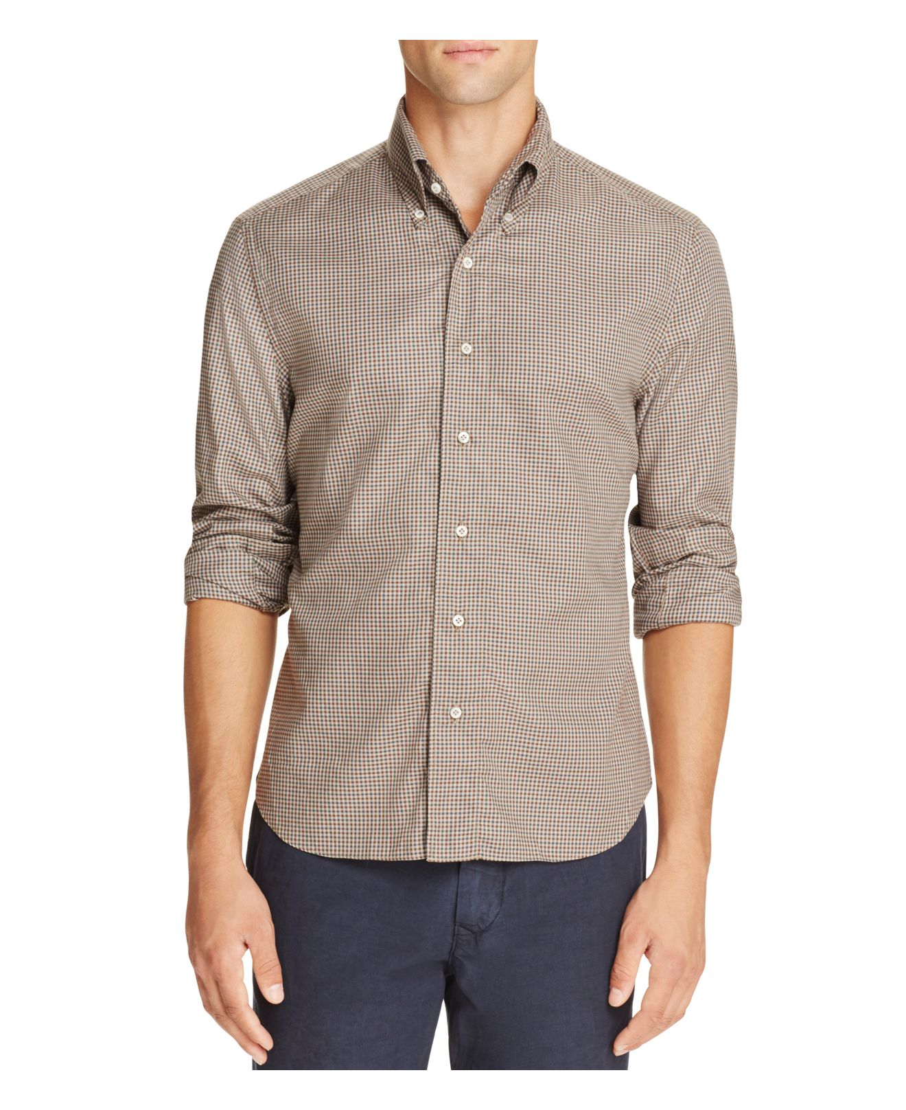Eidos tattersall check slim fit button down shirt for men for Slim button down shirt