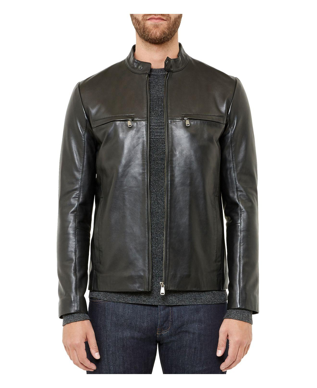 8f3f8d3748cb88 Lyst - Ted Baker Pablo Leather Jacket in Black for Men