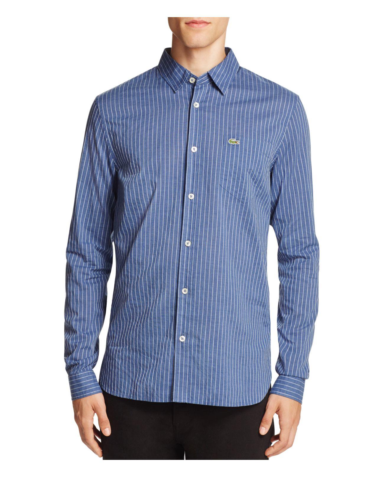 lyst lacoste indigo stripe slim fit button down shirt in