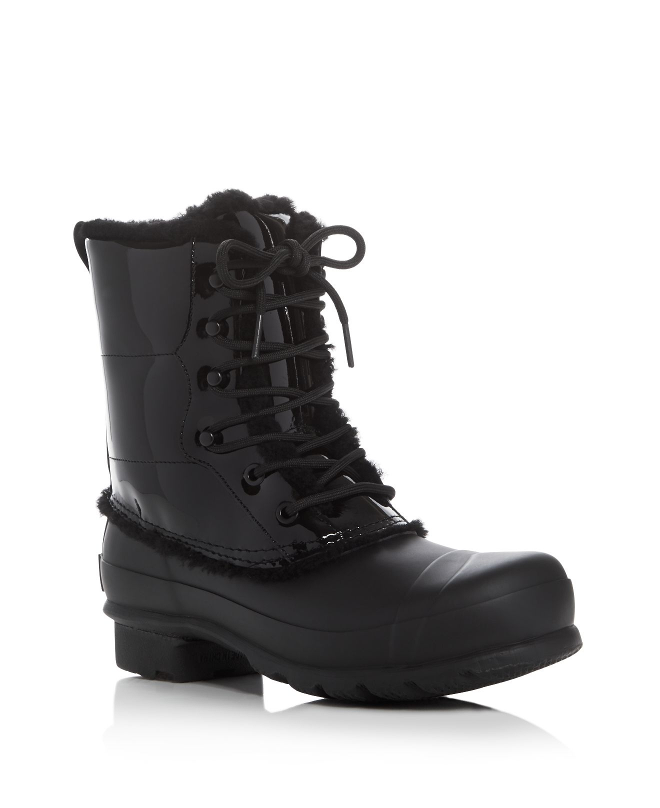 Hunter Original Patent Leather Lace Up Shearling Lined