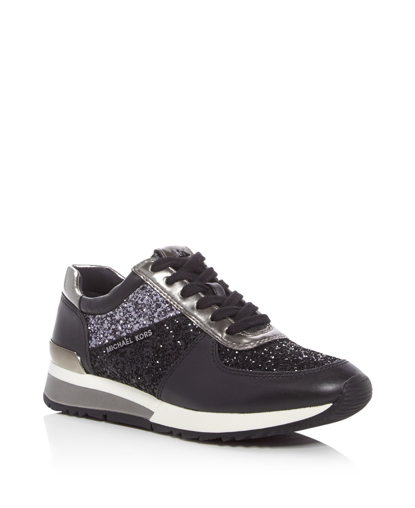 Michael Michael Kors Allie Glitter Lace Up Sneakers In