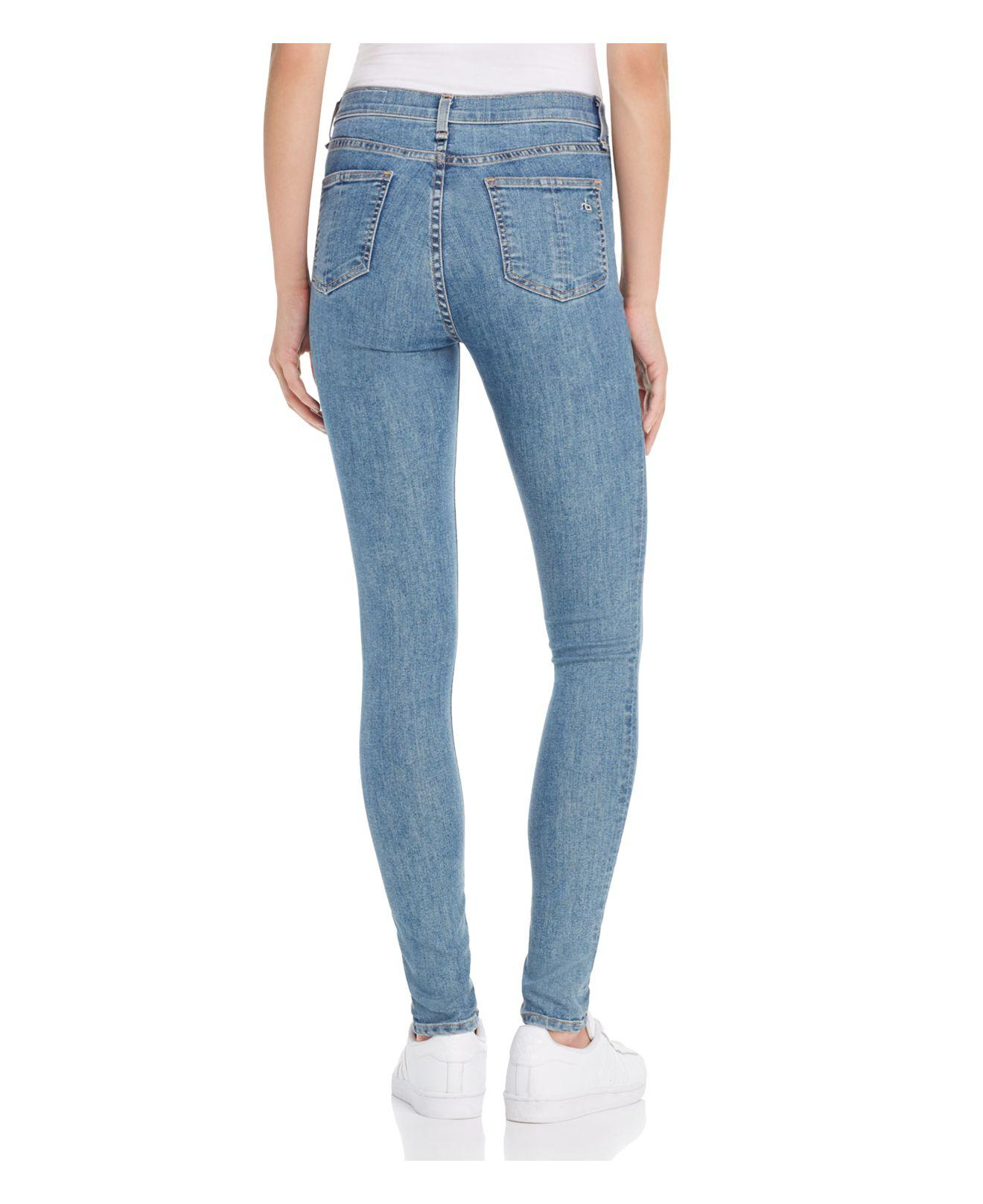 Rag & Bone Denim High Rise Skinny Jeans In Gambel in Blue