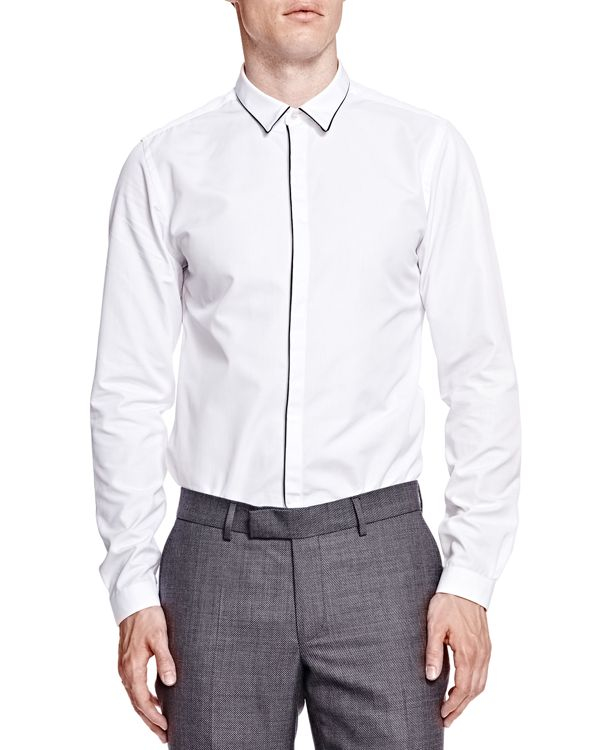 The kooples faille slim fit button down shirt in white for for Slim fit white button down shirt