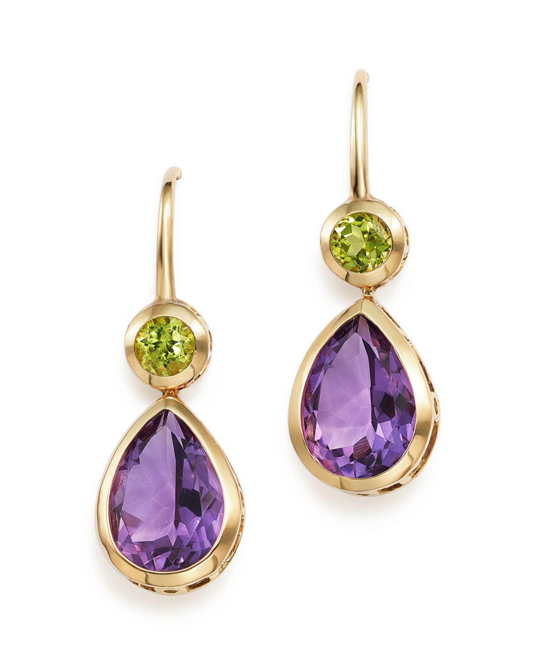70945c0a86144 Bloomingdale's Amethyst And Peridot Drop Earrings In 14k Yellow Gold ...