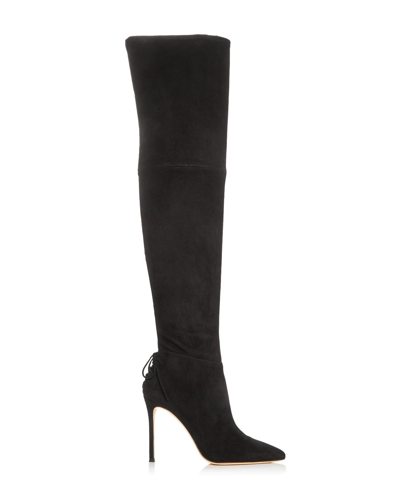 Pour La Victoire Suede Caterina Over The Knee High Heel Boots in Burgundy (Purple)