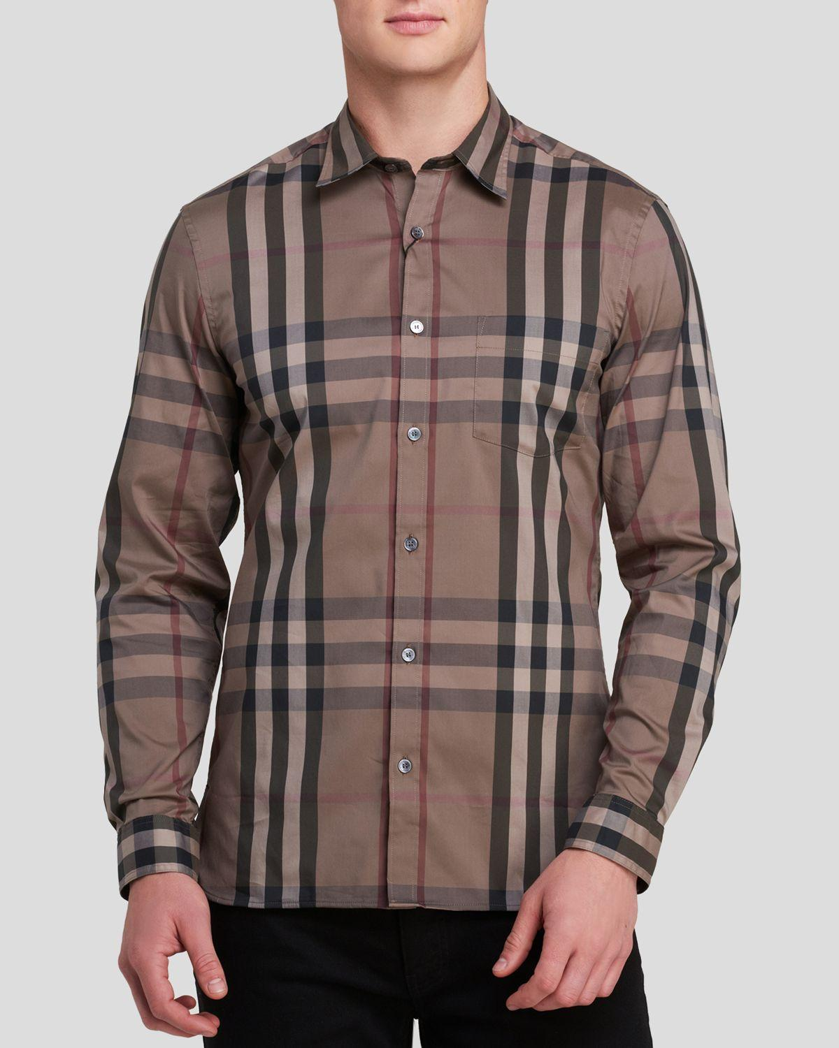 693a5f62a146c1 Burberry Nelson Stretch Button-down Shirt - Slim Fit in Brown for ...