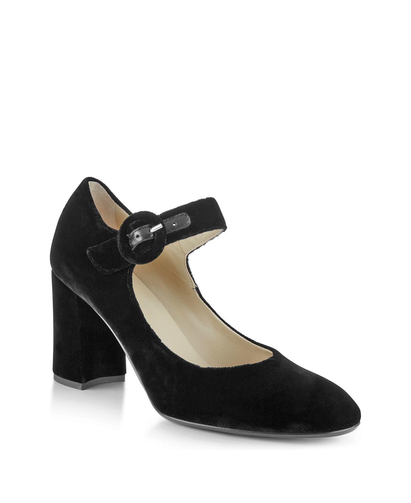 Black Block Heel Mary Jane Shoes