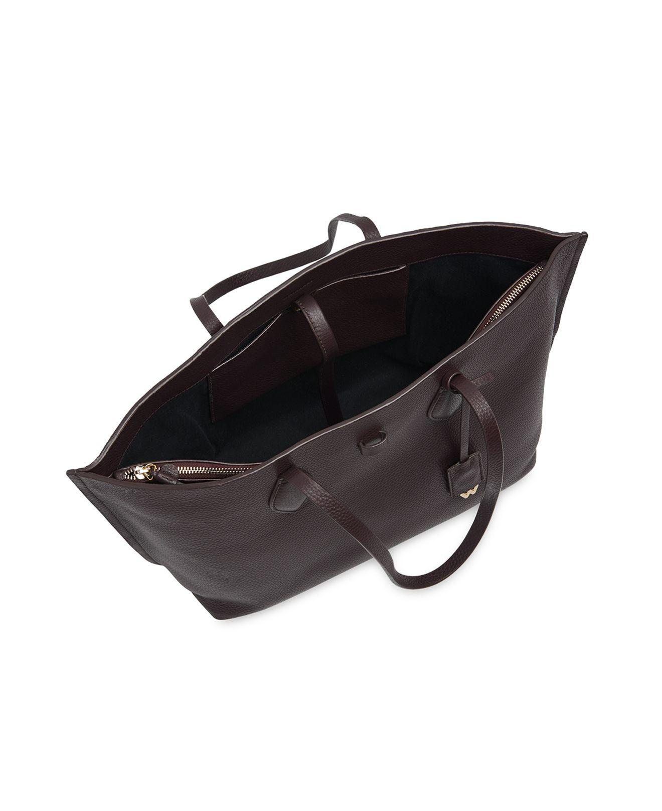 Whistles Leather Regent Tote in Burgundy (Black)