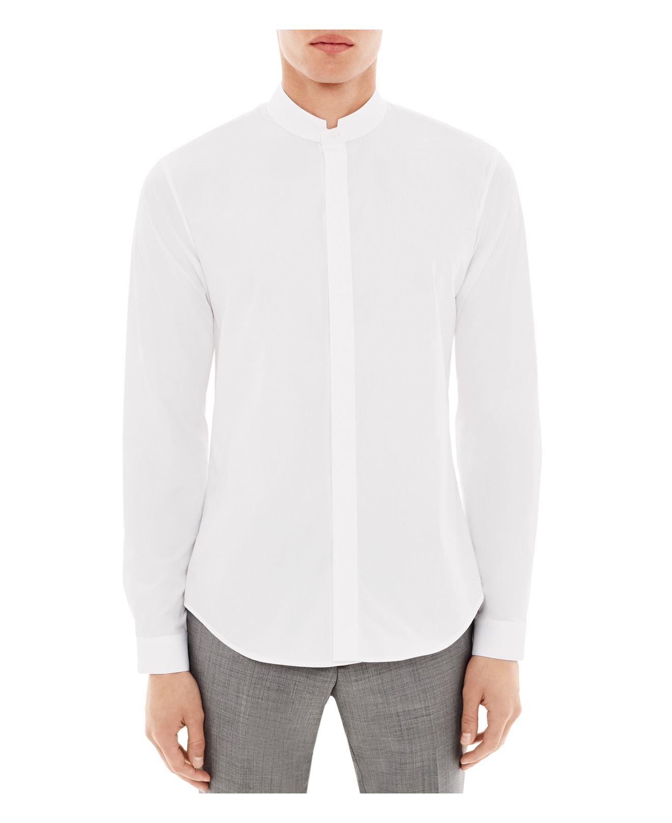 Lyst sandro accord slim fit button down shirt in white for Slim fit white button down shirt