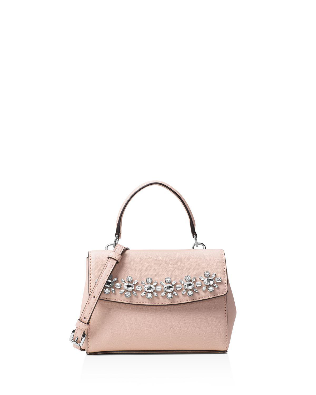 6140bfd77ae88 Lyst - Michael Kors Michael Ava Jewel Mini Crossbody in Pink