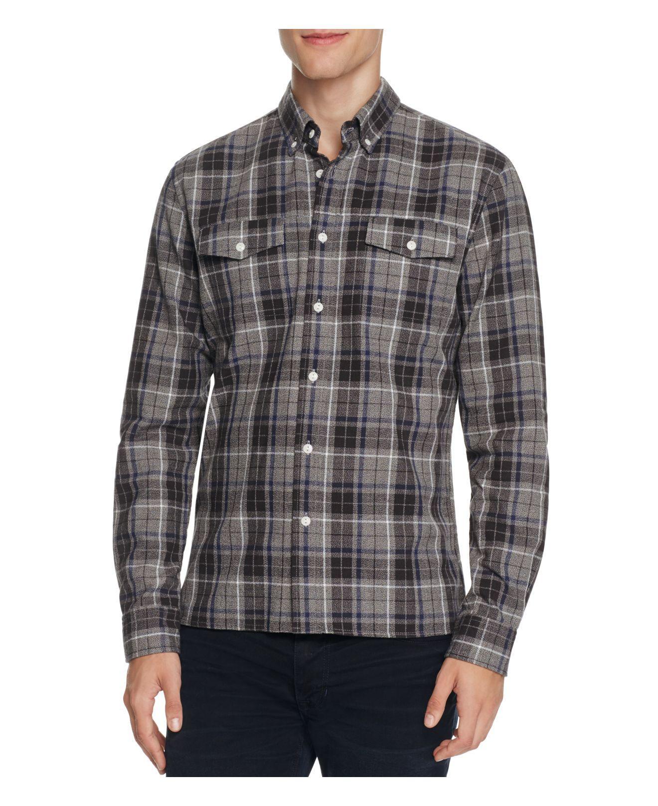 Lyst saturdays nyc javas flannel plaid slim fit button for Women s slim fit flannel shirt