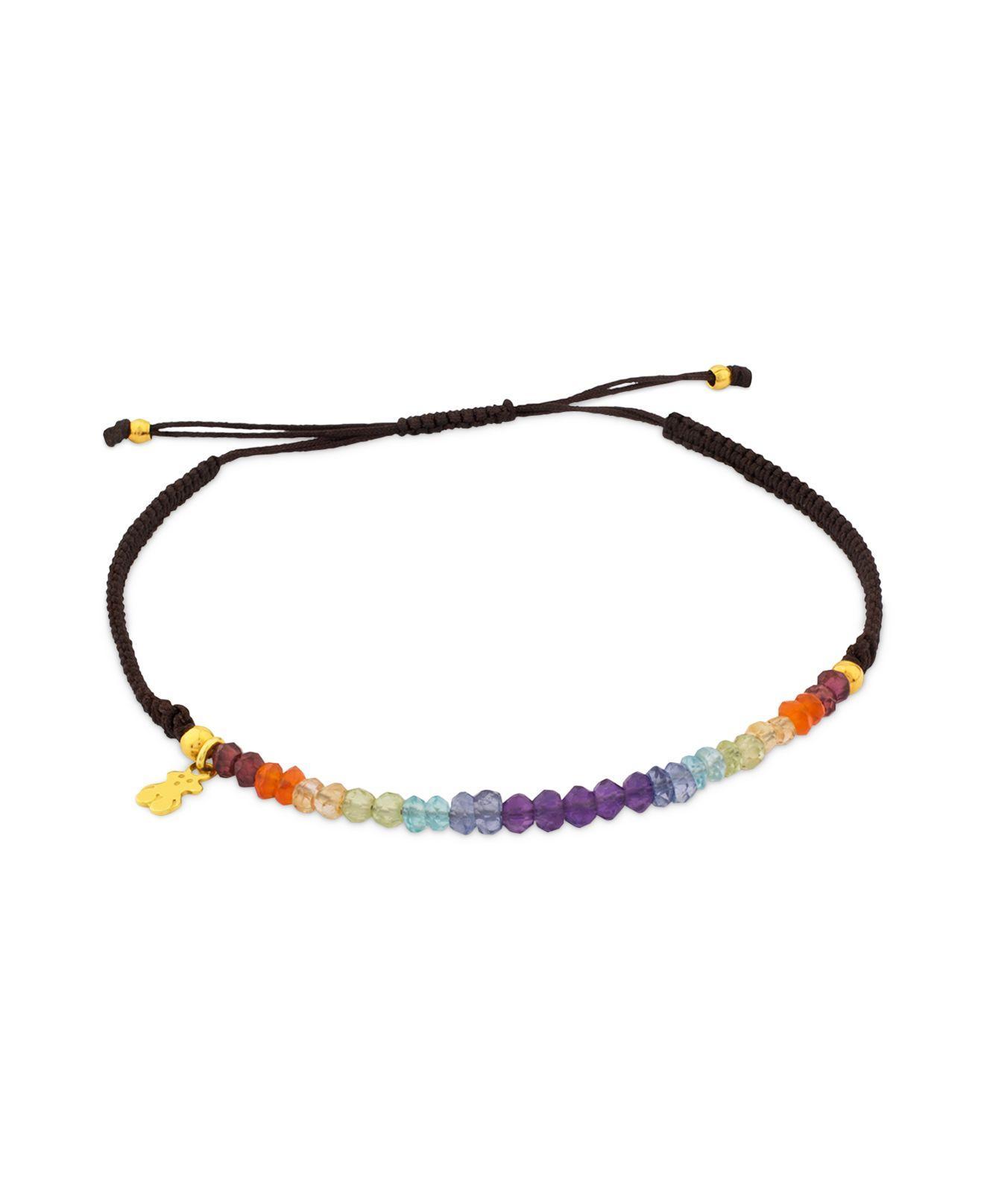 3a099a0372da1 Tous Multicolor Rainbow Multi Stone Knotted Cord Bracelet