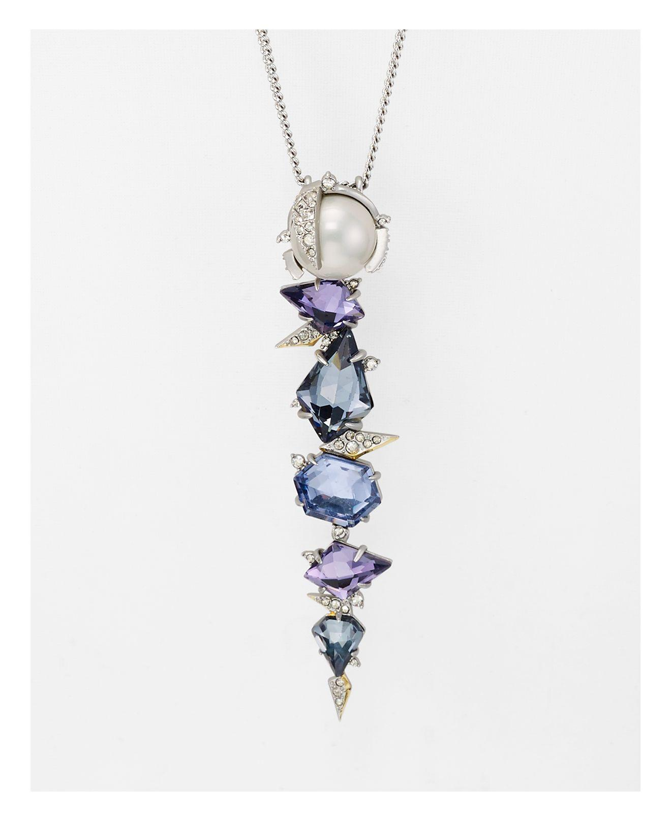 """Alexis Bittar Alexis Bitter Crystal Mosaic Lace Pendant Necklace, 31"""" in Silver (Metallic)"""