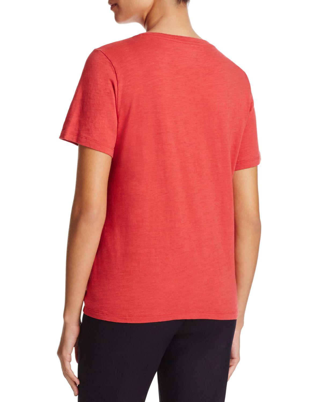 Eileen fisher organic cotton heathered tee in red lyst for Eileen fisher organic cotton t shirt