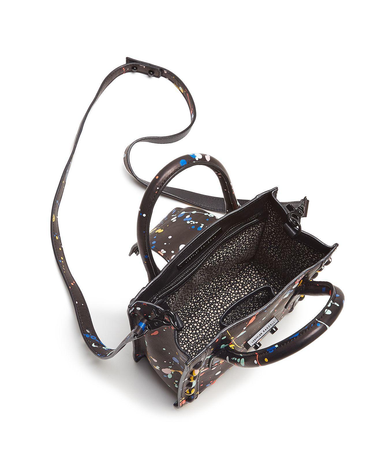 Loeffler Randall Leather Mini Work Splatter Paint Tote in Black