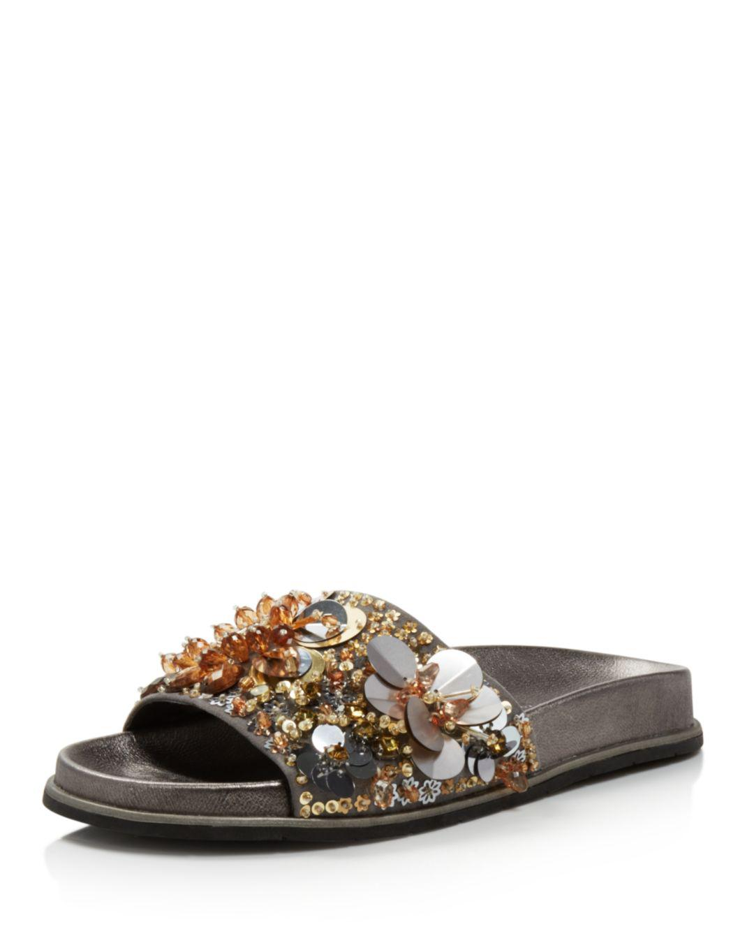 56bae226f2e8 Kenneth Cole. Metallic Women s Xenia Sequin-embellished Pool Slide Sandals