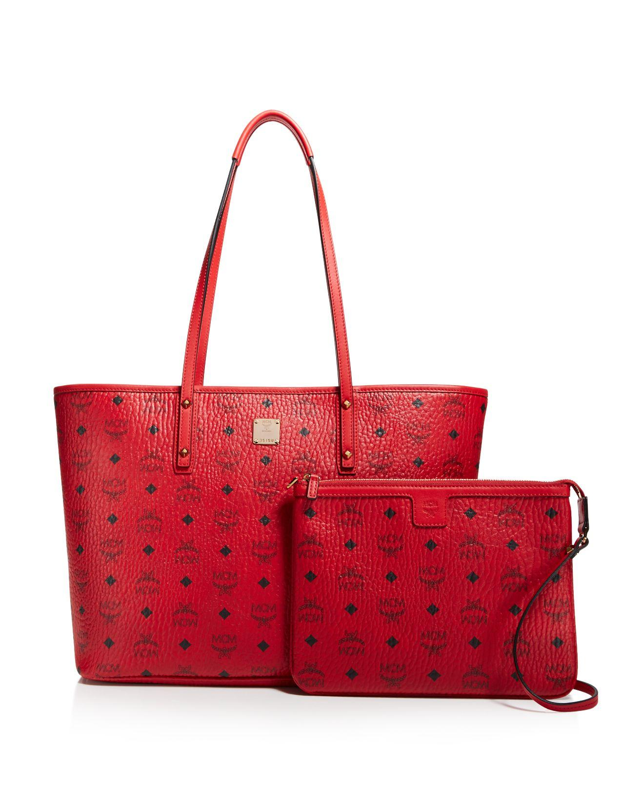 mcm anya logo zip medium shopper tote in red lyst. Black Bedroom Furniture Sets. Home Design Ideas