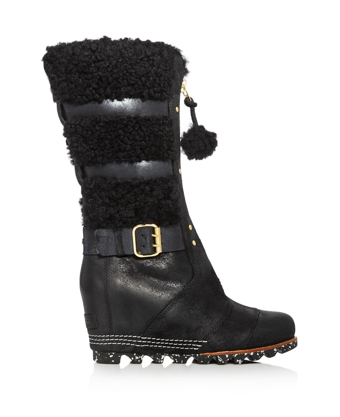Sorel Helen Holiday Shearling Wedge Boots in Black