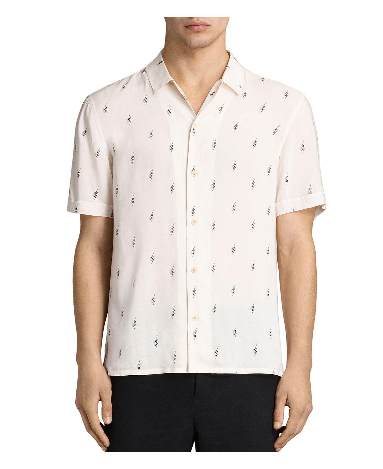 Lyst allsaints cygnus slim fit button down shirt in for Slim fit white button down shirt