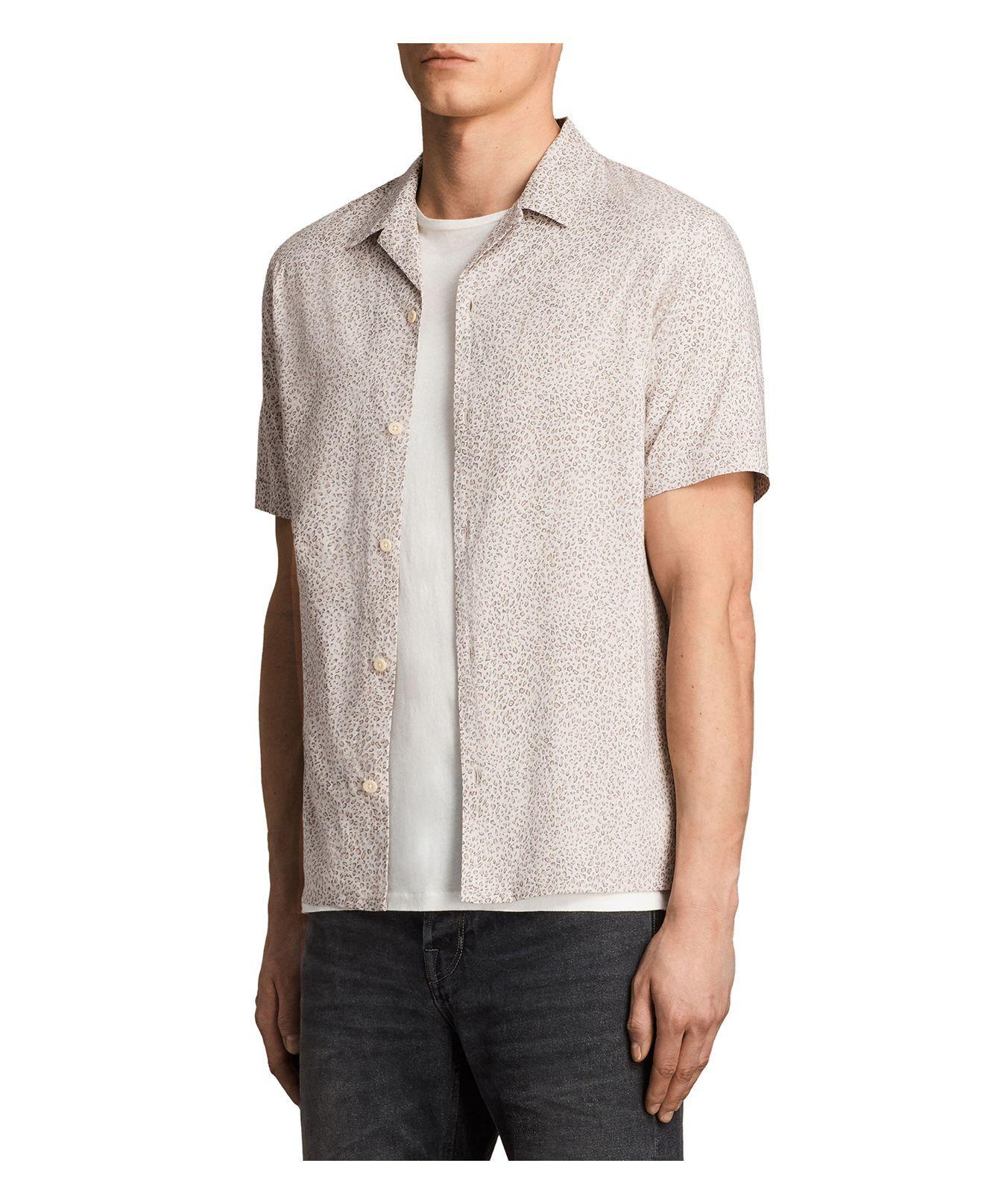 Lyst allsaints wasco slim fit button down shirt for men for Slim button down shirt