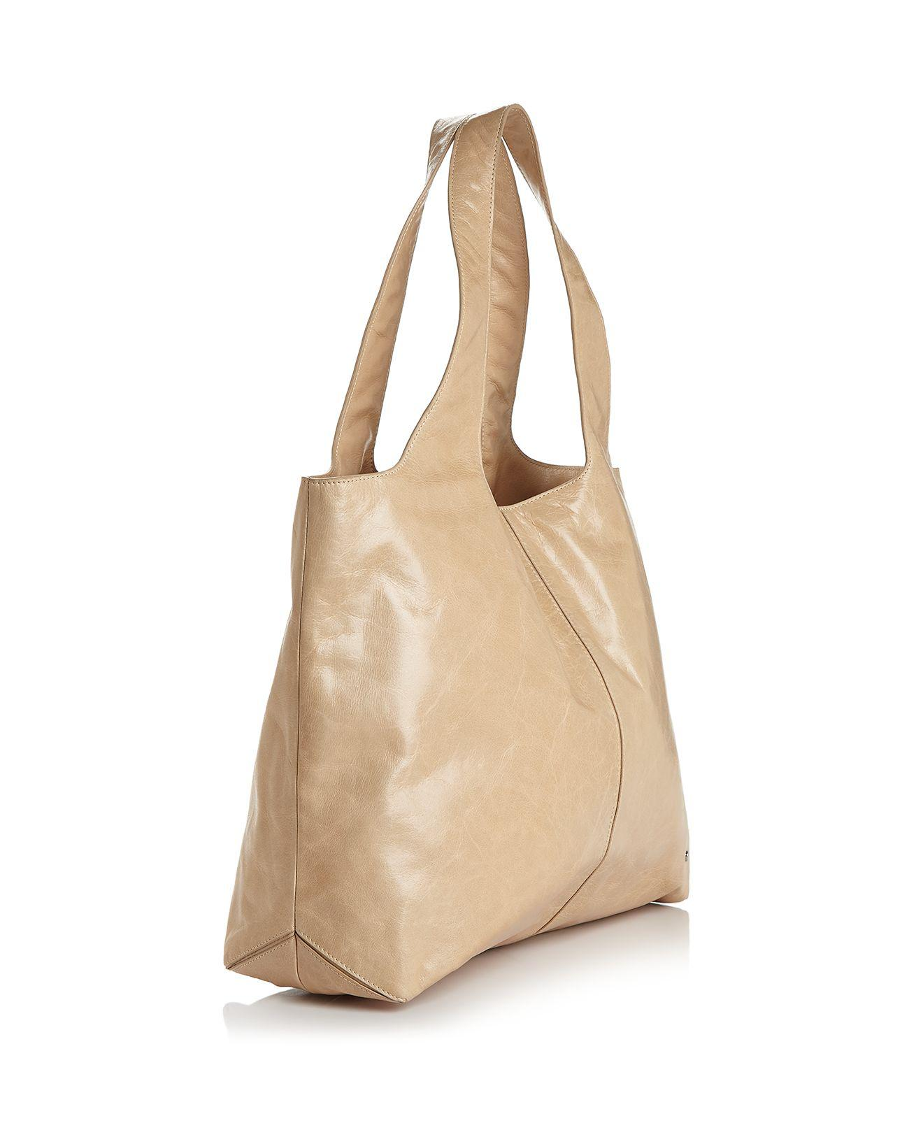 Lyst - Halston Tina Large Open Soft Leather Tote in Brown e6eb01a5d4ae0