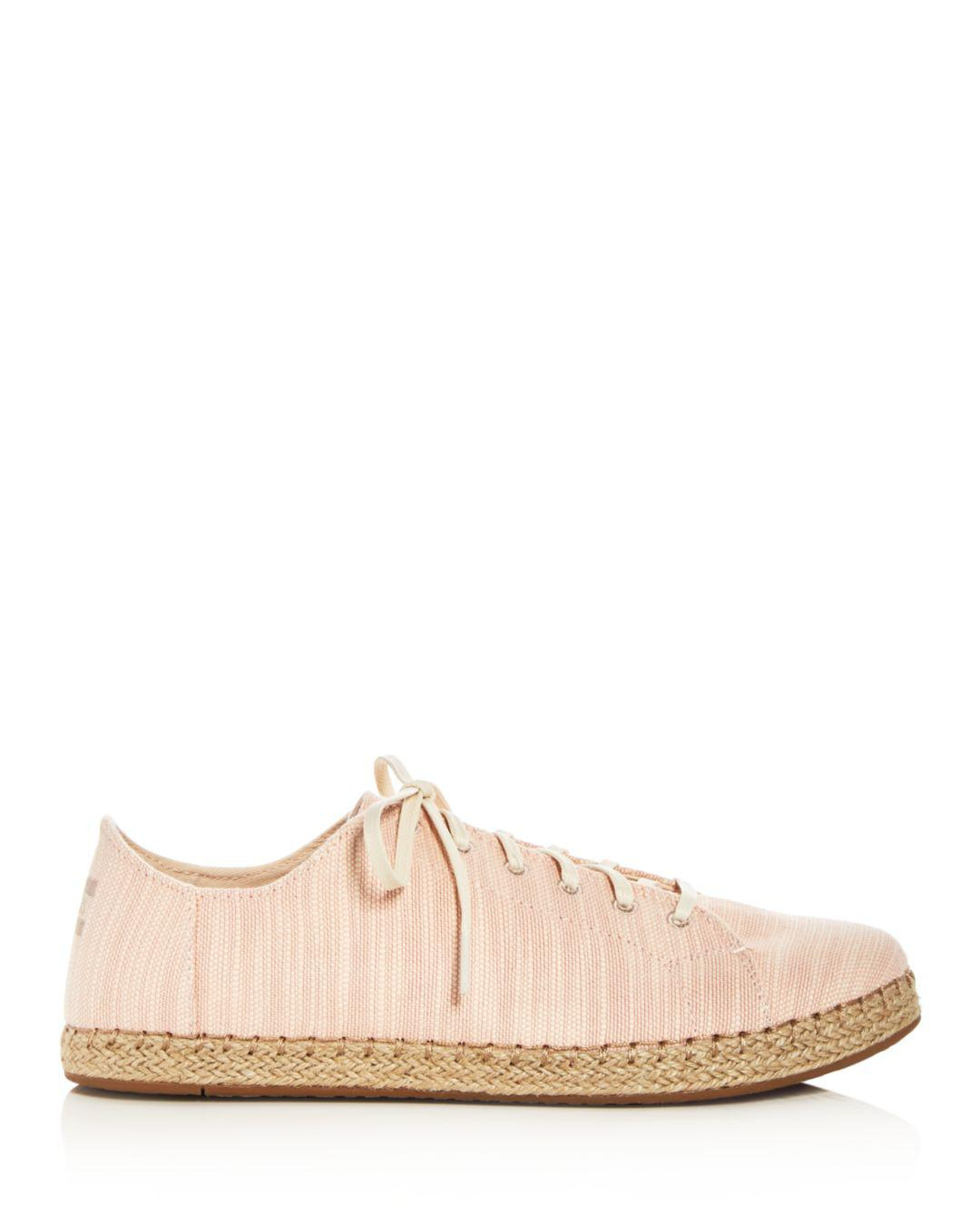 TOMS Women's Lena Slubby Cotton Lace Up Espadrille Sneakers in Pink
