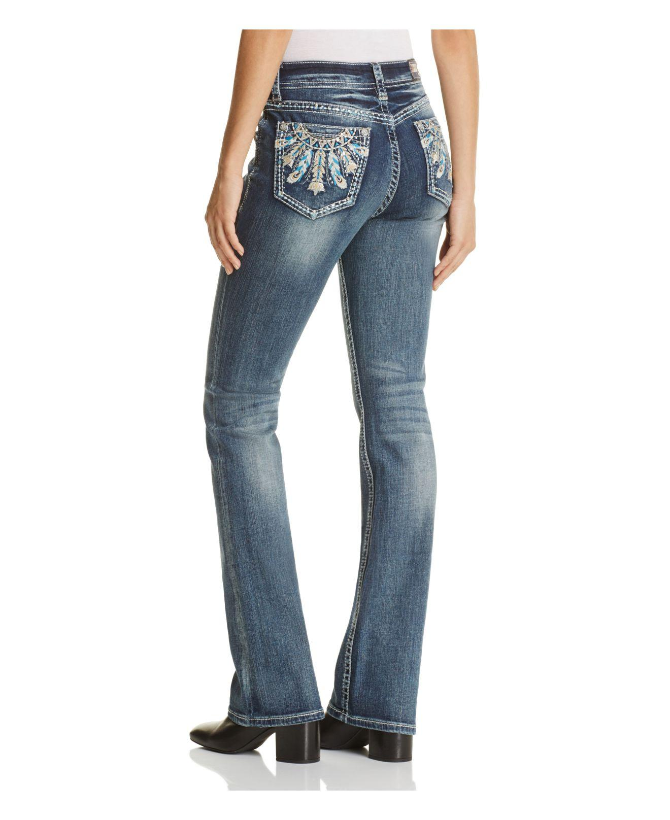Grace In La Denim Multicolor Feather Embroidered Jeans In Medium Blue - Compare At $79