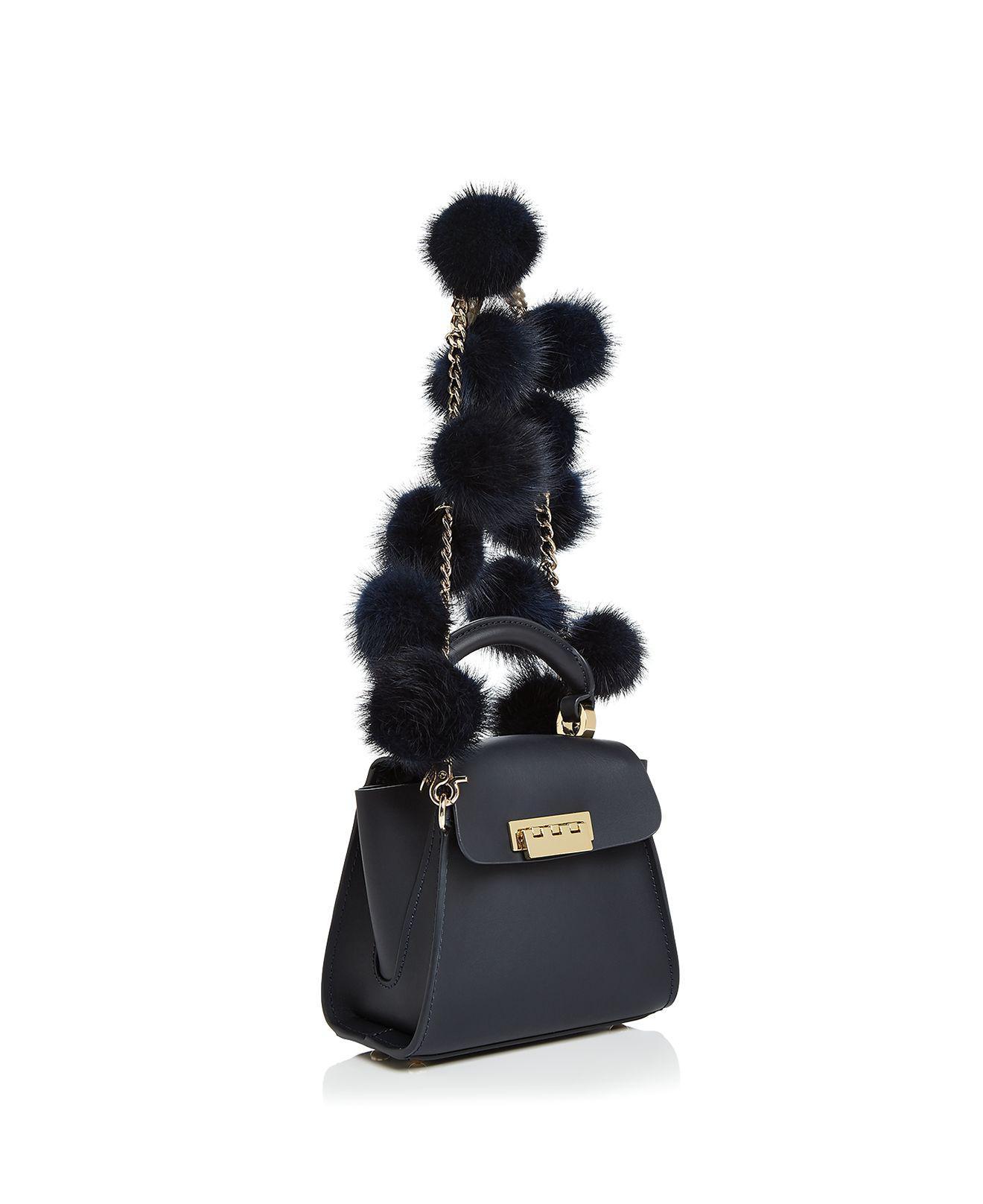 Zac Zac Posen Eartha Iconic Top Handle Fur Pom Pom Mini