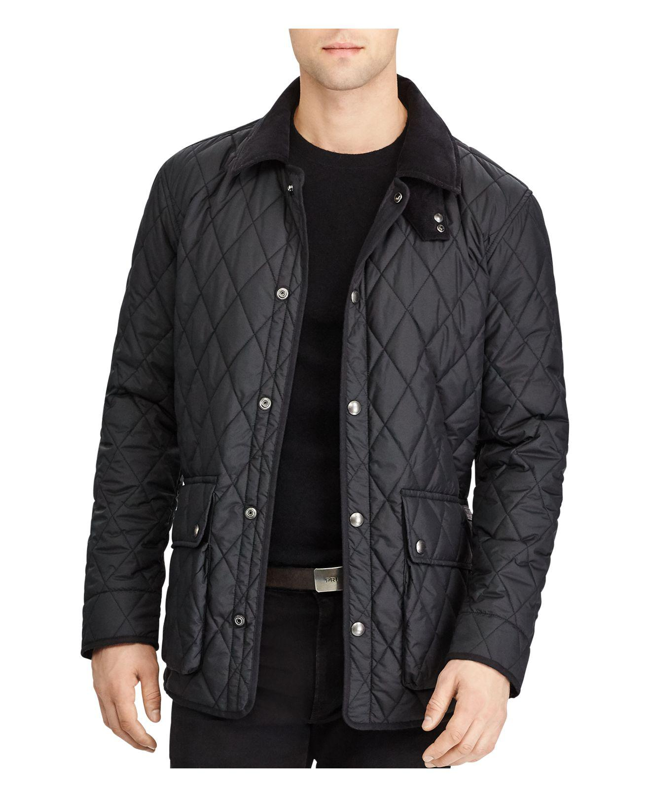 Polo Ralph Lauren Iconic Quilted Car Coat In Black For Men