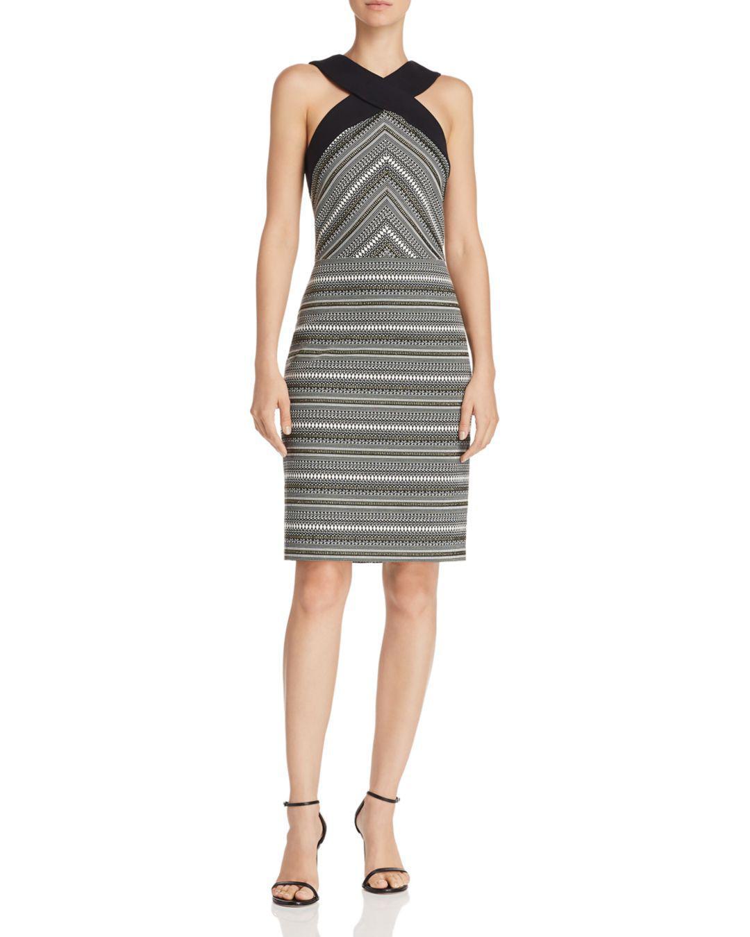 af422e5ee7f8 Laundry by Shelli Segal Jacquard Geometric Sheath Dress in Black - Lyst