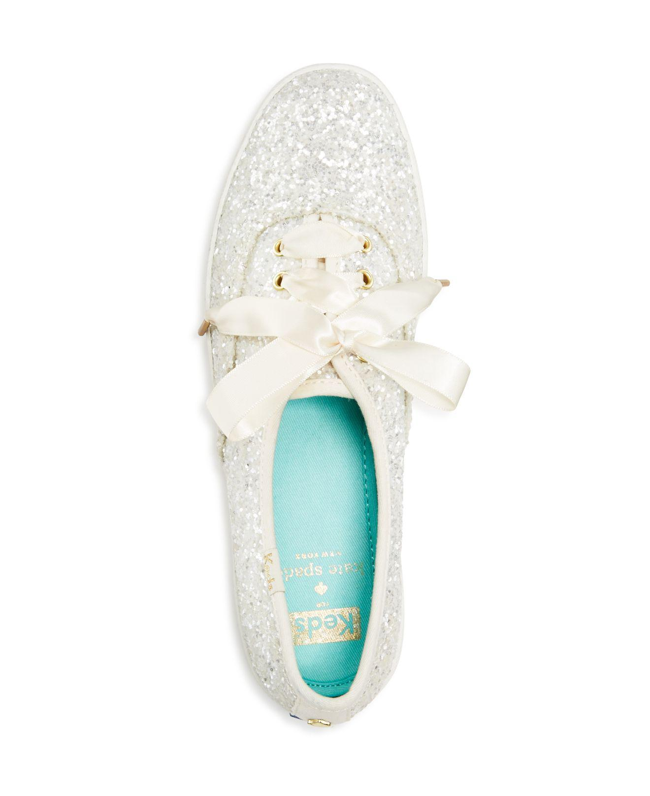 6db9365ffb Lyst - Kate Spade X Keds Glitter Lace Up Low Top Sneakers in White