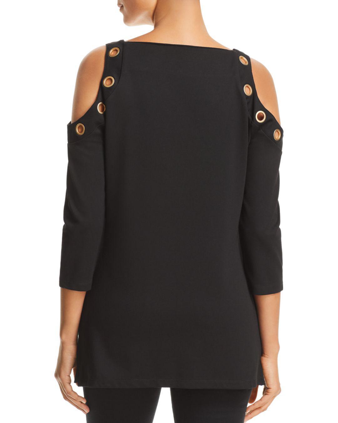 71748a89cc2d39 Lyst - Donna Karan Grommet Detail Cold-shoulder Blouse in Black