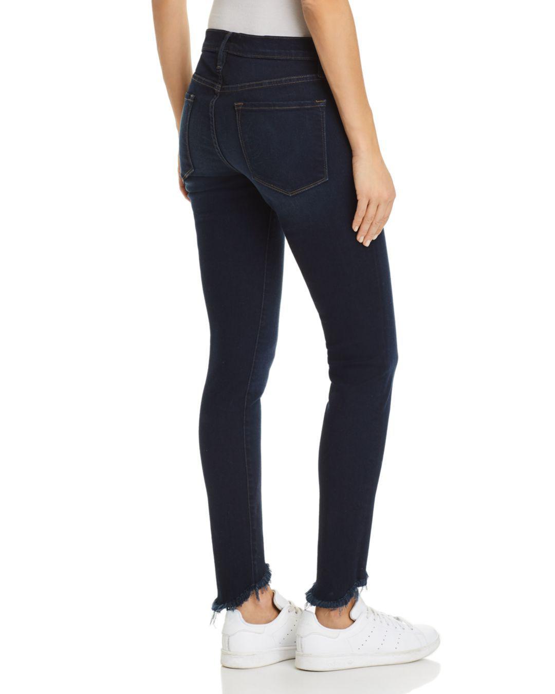 FRAME Denim Le Skinny De Jeanne Sweetheart Frayed-hem Jeans In Longstreet in Blue