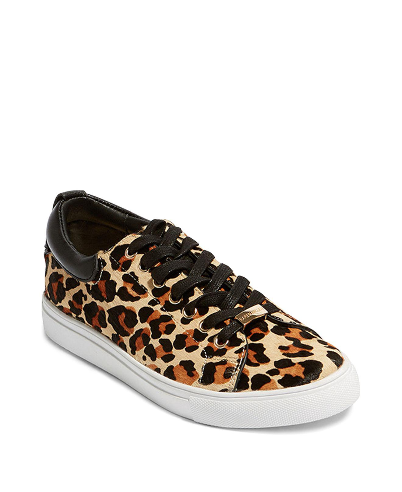 Karen Millen Women's Leopard Print Calf Hair Low Top Lace Up Sneakers