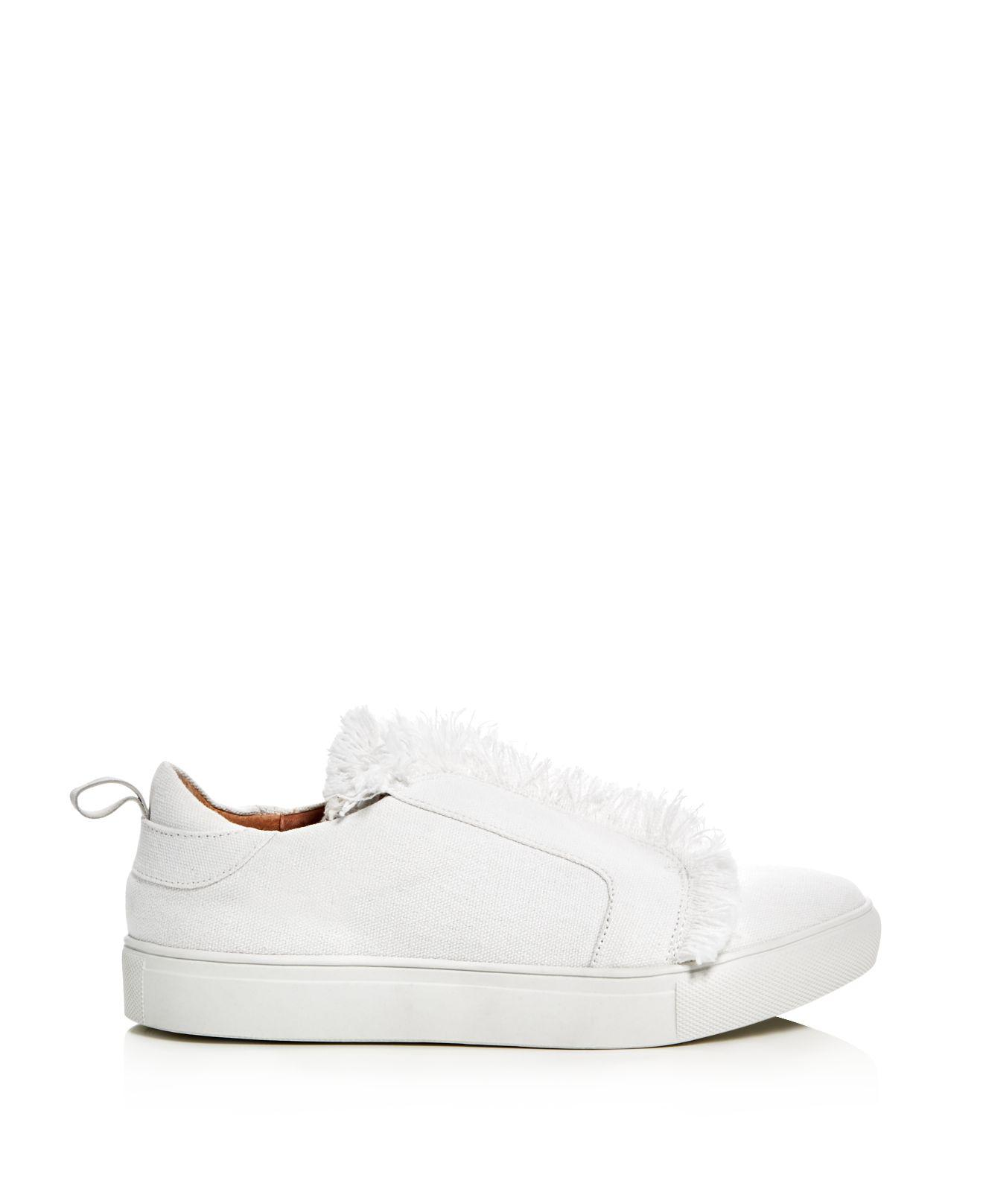 Jaggar Frayed Slip-on Sneakers in Chalk (White)