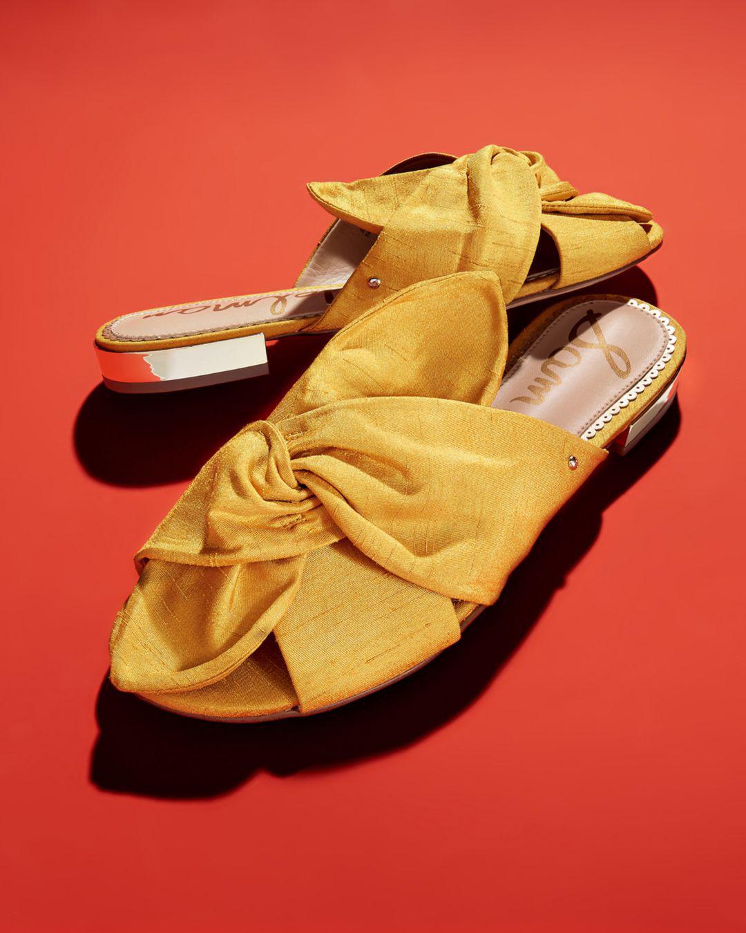 14b0779e4e57 Sam Edelman Women s Darian Knotted Silk Slide Sandals in Yellow - Lyst