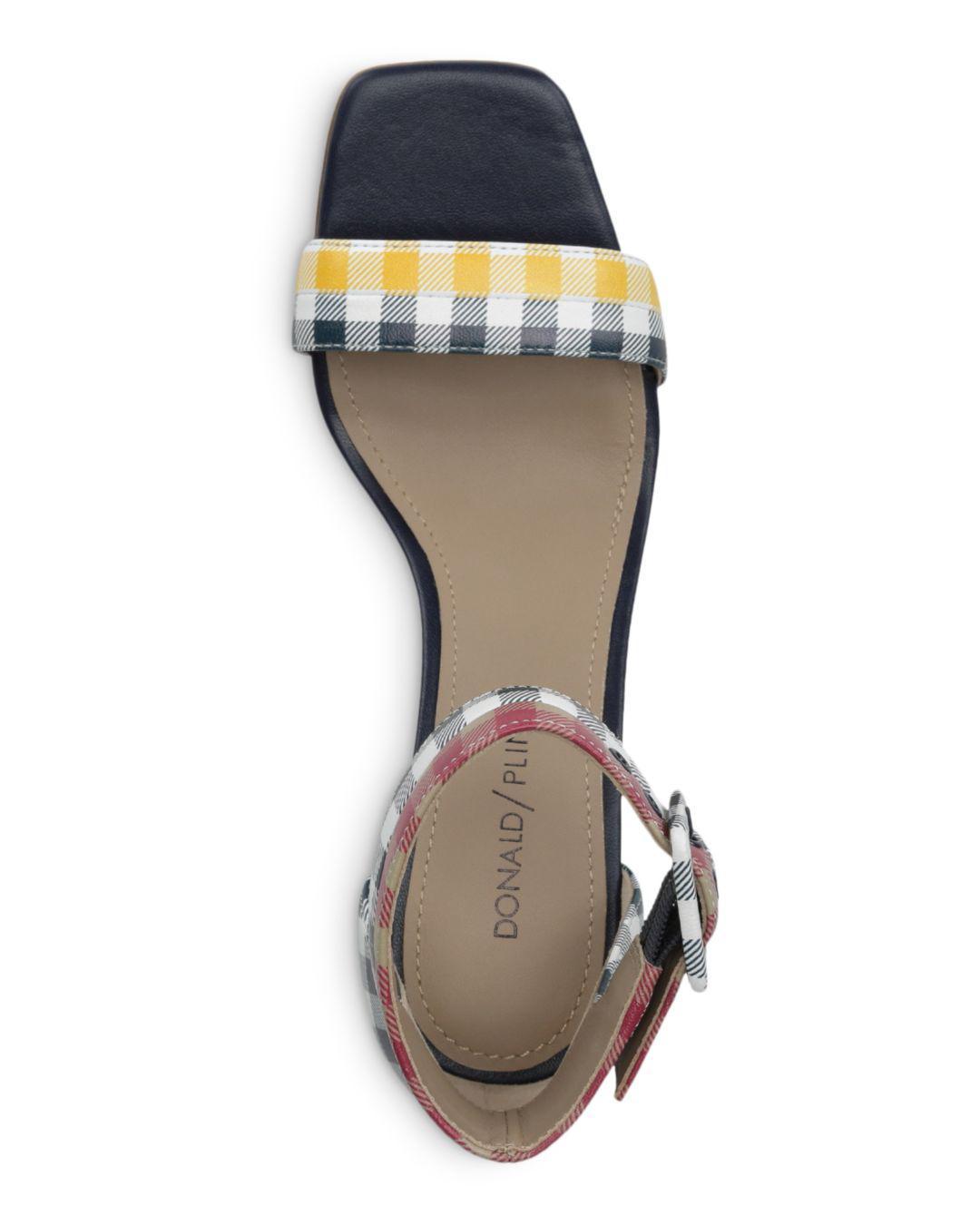 c21797b2564 Donald J Pliner - Blue Women s Watson Gingham-print Color-block Leather Block  Heel. View fullscreen