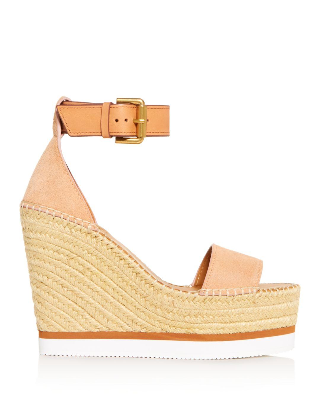 d34bc55701f5 See By Chloé Glyn Leather Espadrille Platform Wedge Ankle Strap Sandals -  Lyst