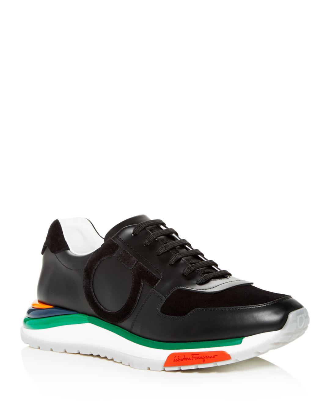 c808e2e277b Lyst - Ferragamo Men s Brooklyn Sneakers W  Rainbow Sole in Black ...
