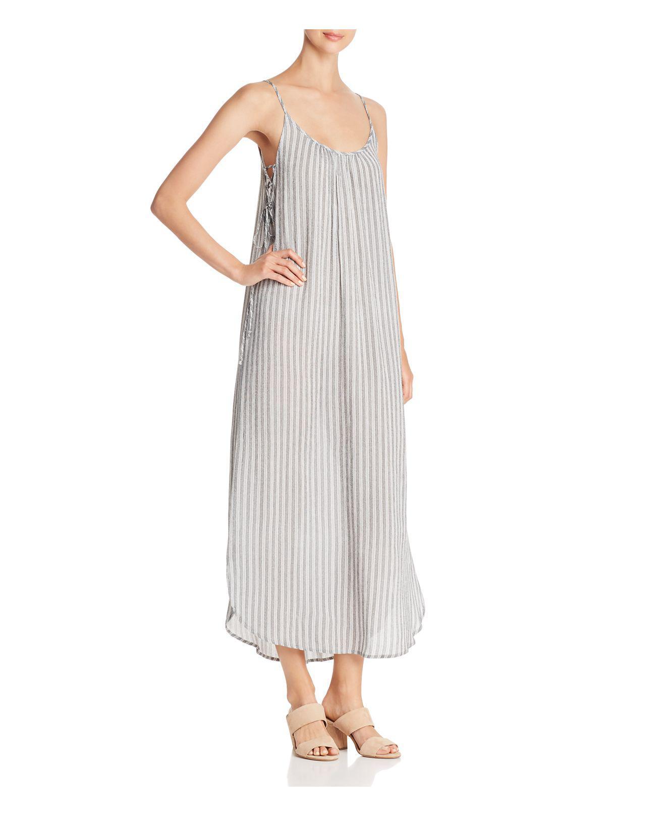 Aqua Striped Lace Up Maxi Dress In White Lyst
