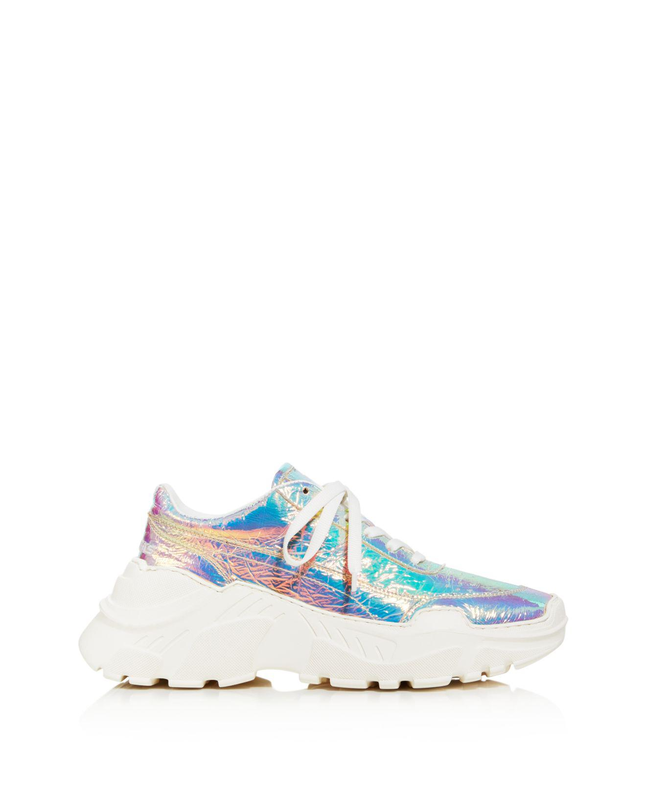JOSHUA SANDERS Women's Leather & Holographic Foil Lace Up Sneakers il9pFAG