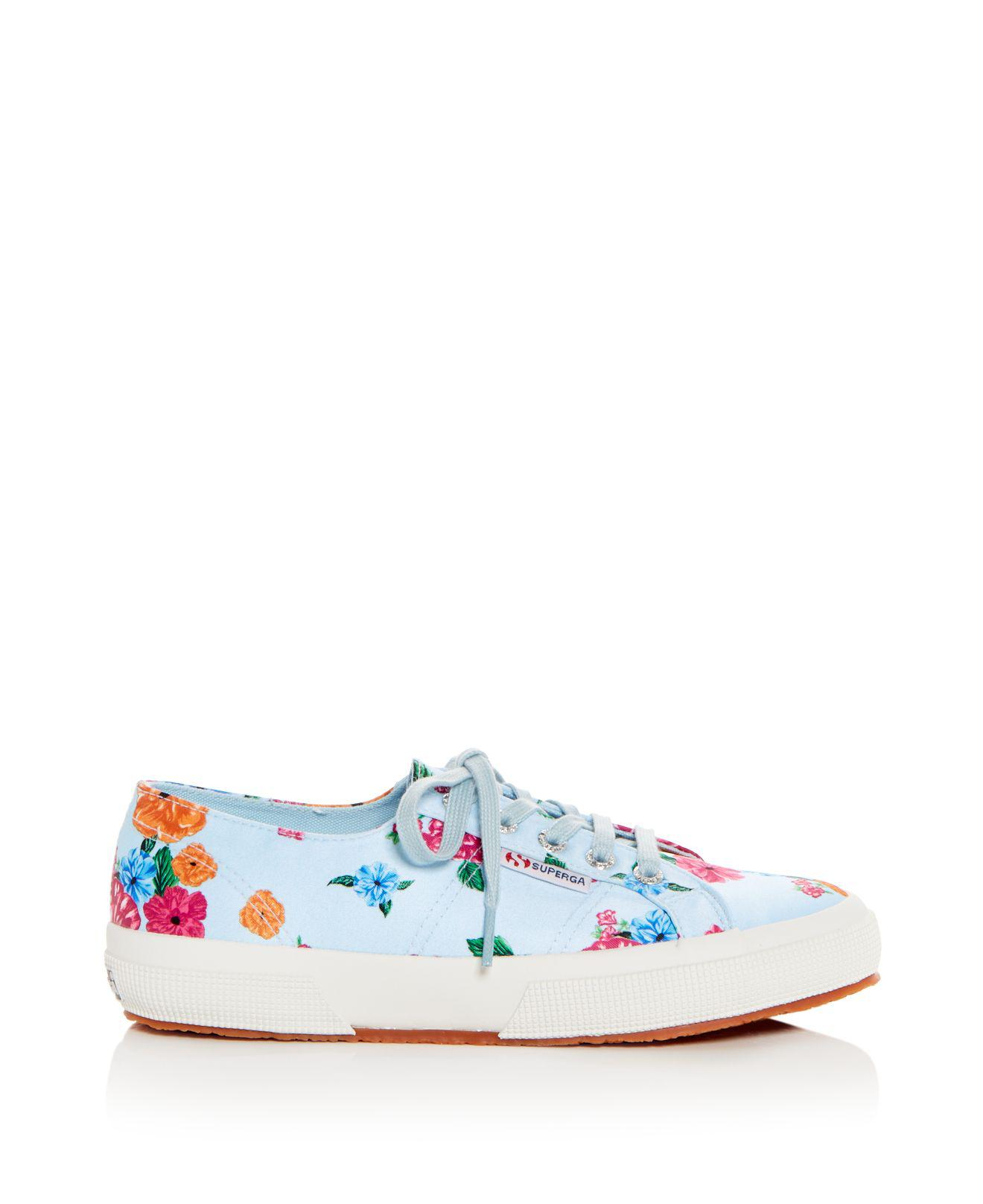 Superga Women's Classic Floral Satin Lace Up Sneakers