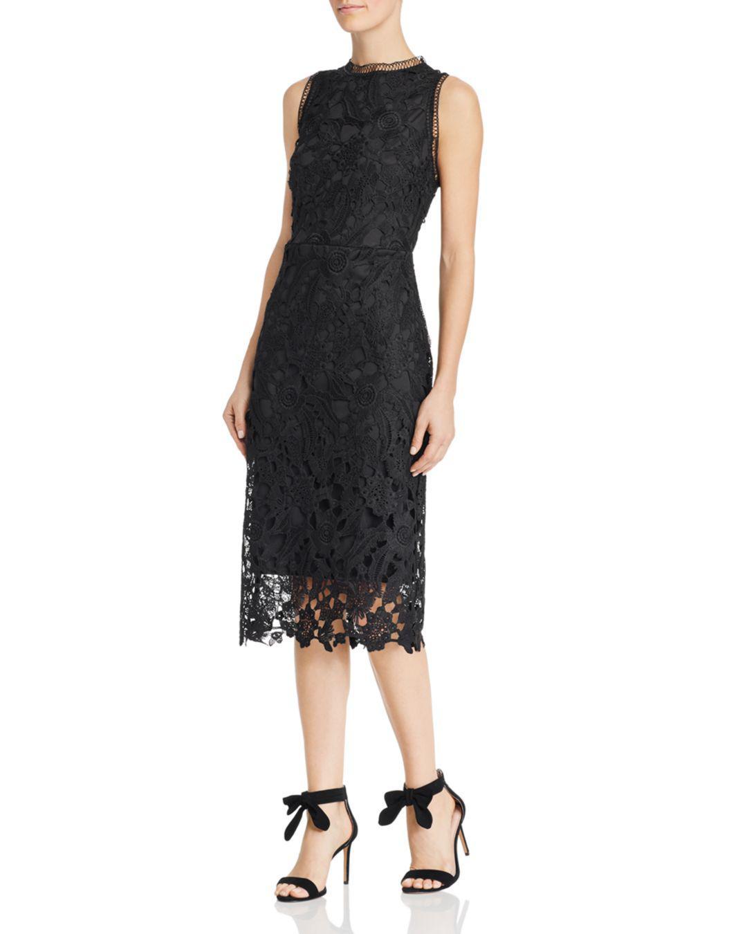 b7335754b Lyst - Sam Edelman Peacock Lace Midi Dress in Black