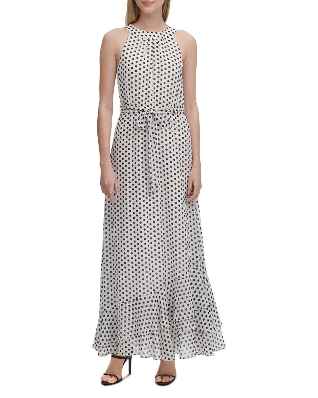 eb16b5135b3 Calvin Klein Sleeveless Dot-print Maxi Dress in White - Lyst