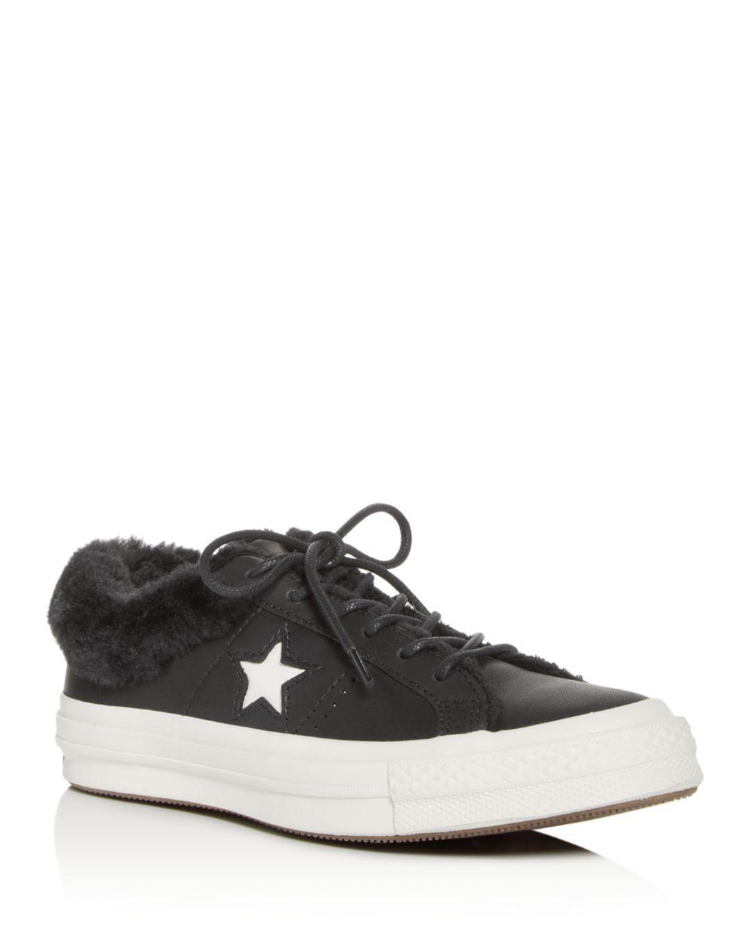 Star Faux-fur Low-top Sneakers in Black