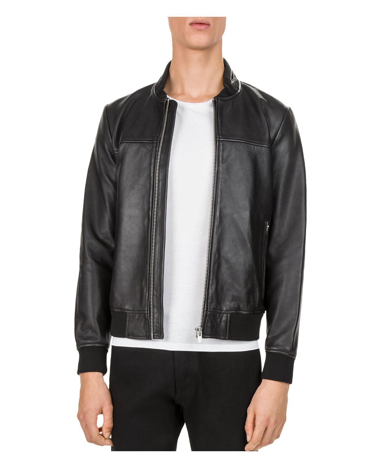 The Kooples Lamb Leather Jacket in Black for Men