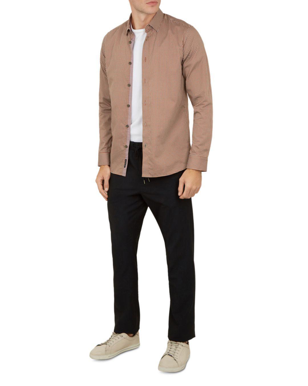 7e7682170c07 Lyst - Ted Baker Jenkins Long Sleeve Printed Shirt in Orange for Men