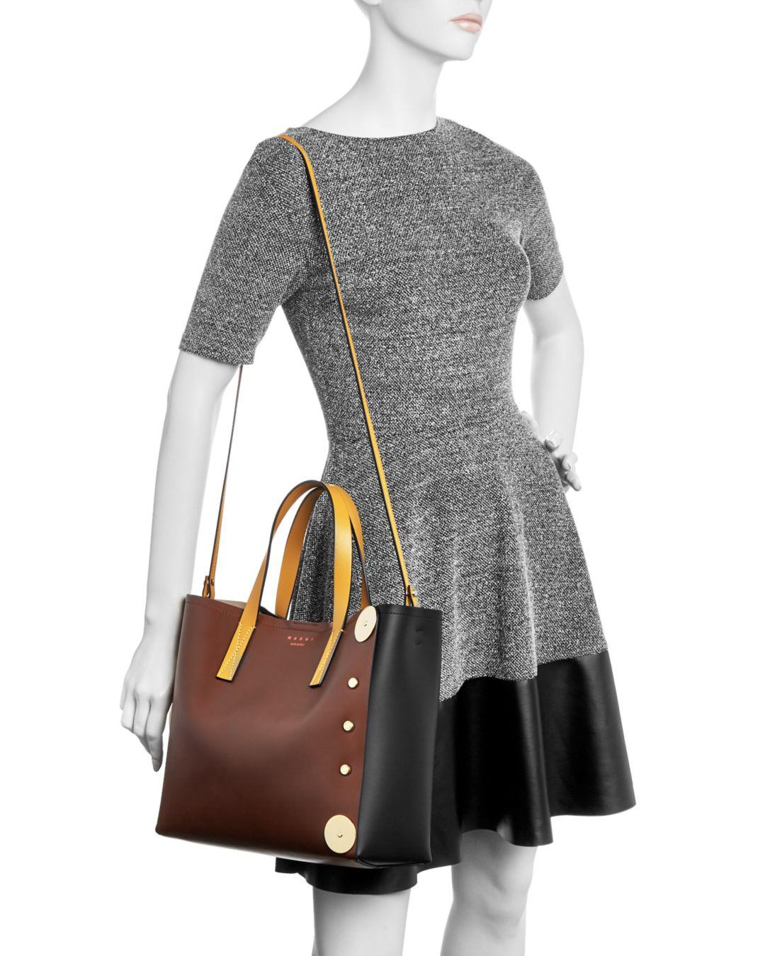 5a5564e19843 Lyst - Marni Punch Museo Medium Leather Tote