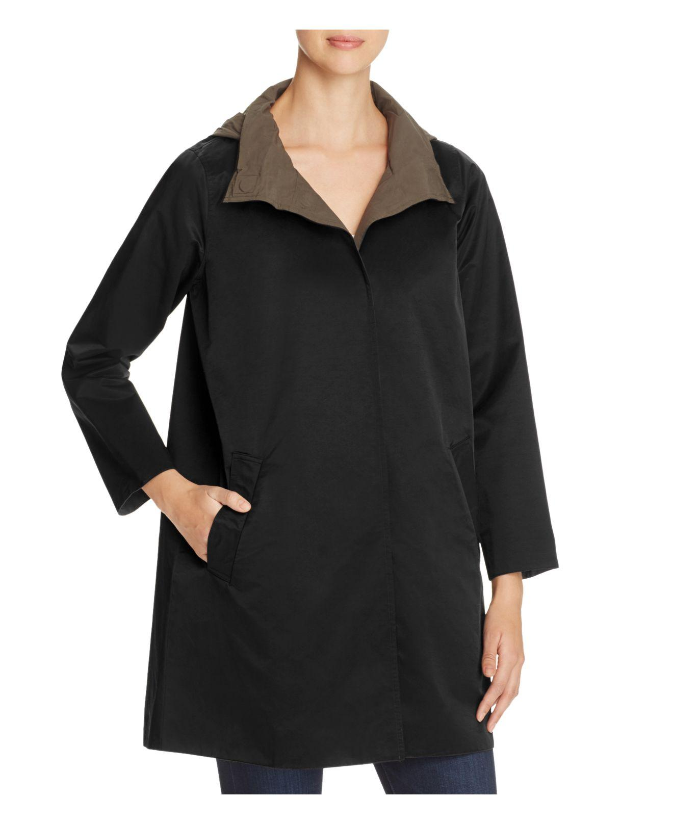 Eileen Fisher Cotton Reversible Hooded Stand Collar Coat