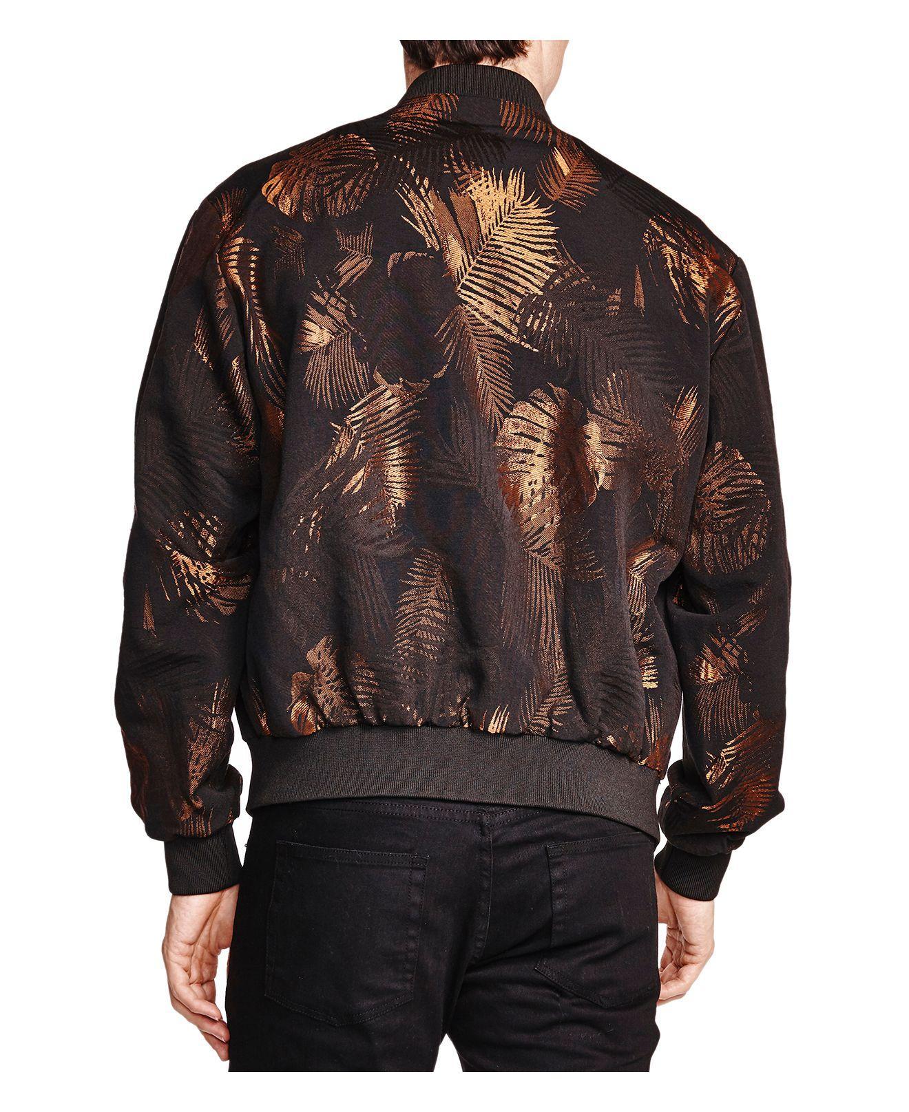 The Kooples Golden Leaves Printed Jacket in Black Gold (Black) for Men